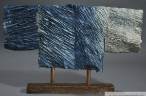 Four Seasons, Winter, back Indigo Shibori Kozo paper, thread
